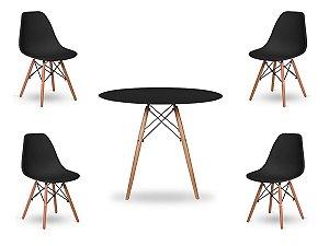 Kit 4 Cadeiras Com Mesa De Jantar Redonda Charles Eames 100Cm Preta