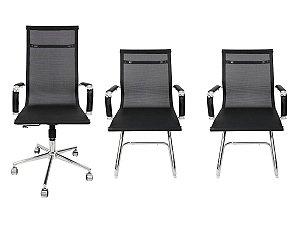 Combo 2 Cadeira Esteirinha Em Couro e 1 Cadeira Presidente Giratória Tela Mesh