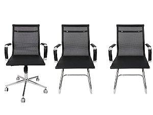 Combo 2 Cadeira Esteirinha Em Couro e 1 Cadeira Secretária Executiva Tela Mesh