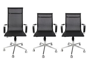 Combo 2 Cadeira Secretária Executiva e 1 Cadeira Presidente Giratória Tela Mesh