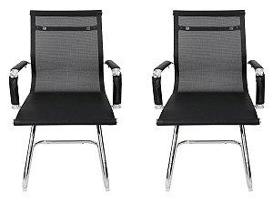 Kit 2 Cadeiras Pés Fixos Interlocutor Secretária Esteirinha Tela Mesh