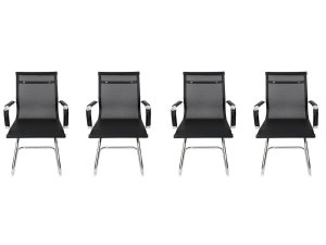 Kit 4 Cadeiras Pés Fixos Interlocutor Secretária Esteirinha Tela Mesh