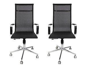 Conjunto 2 Cadeiras Presidente Giratória Esteirinha Charles Eames Tela Mesh