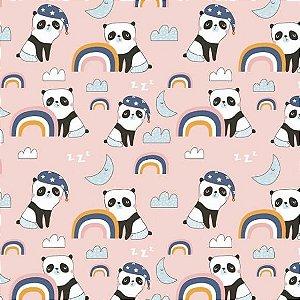 Tricoline Panda no Rosa 50cm x 1.50m largura