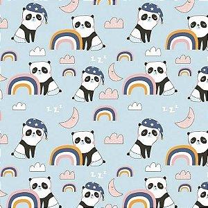 Tricoline Panda no Azul 50cm x 1.50m largura