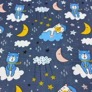 Tricoline Ursinhos Dormindo de Noite 50cm x 1.50m largura