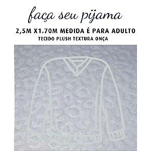 Tecido Plush Textura Onça Branco para Pijama Adulto 2.5x1.70m
