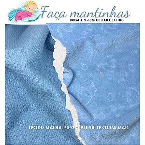 Tecido para Mantas Malha Pipo Azul + Plush Textura Fundo do Mar Azul 80cm x 1.60m cada