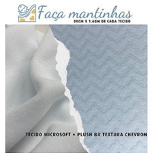Tecido para Mantas Microsoft Branco + Plush Chevron Branco 80cm x 1.60m cada
