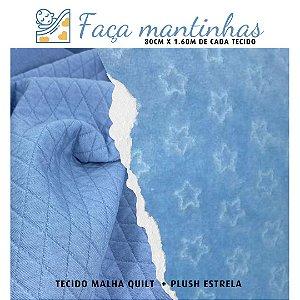 Tecido para Mantas Malha Quilt Azul + Plush Estrelar Azul 80cm x 1.60m cada