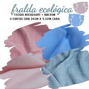 Tecido Melton + Microsoft para Fralda Ecológica 30cm X1.60m cada Rosa e Azul