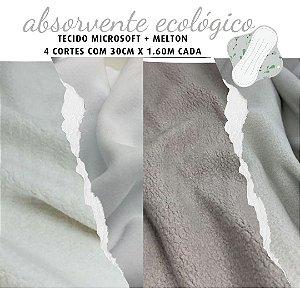 Tecido Melton + Microsoft para Absorvente Ecológico Tons Branco e Cinza