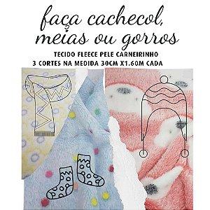 Tecido Fleece Microfibra para Cachecol, Toucas ou Meias  30cm x 1.60m cada