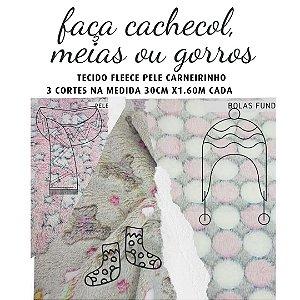 Tecido Fleece Microfibra para Cachecol, Toucas ou Meias  30cm x 1.60m cada Tons Claros
