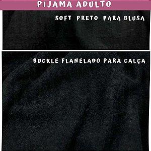 Tecido para Pijama Soft Preto + Buckle Flanelado Preto