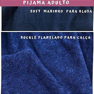 Tecido para Pijama Soft Marinho + Buckle Flanelado Marinho