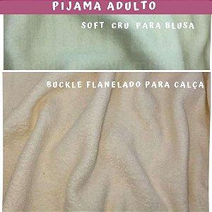 Tecido para Pijama Soft Rosa + Buckle Flanelado Rosa Plástico