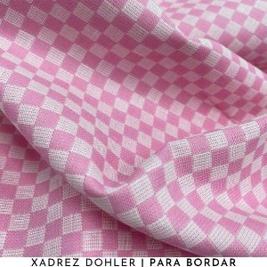 Tecido Para Bordar Xadrez Rosa 50cm x 1,40m