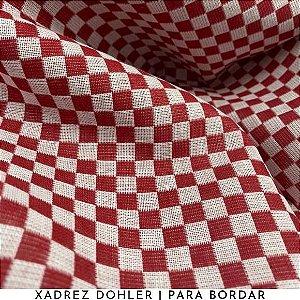 Tecido Para Bordar Xadrez Vermelho 50cm x 1,40m