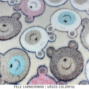 Microfibra Fleece Ursos Colorful 50cm x 1,60m