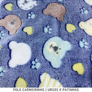 Microfibra Fleece Ursos e Patinha Azul 50cm x 1,60m