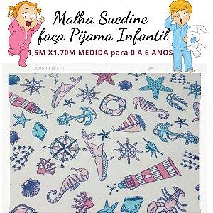Malha Suedine estampa Fundo do Mar  para Pijama Infantil 1,50cm x 1.70m