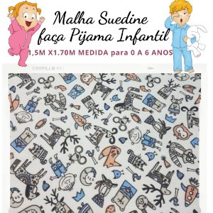Malha Suedine estampa Bichos Misturado para Pijama Infantil 1,50cm x 1.70m