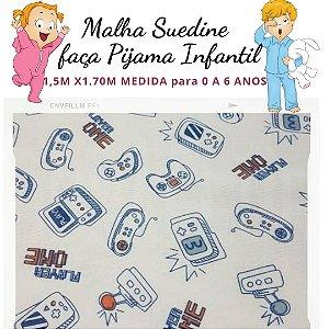 Malha Suedine estampa Videoagame para Pijama Infantil 1,50cm x 1.70m