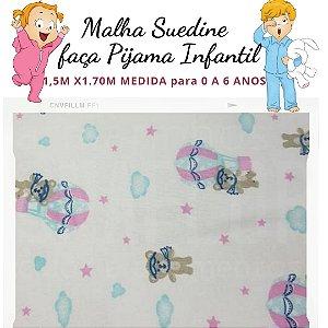Malha Suedine Ursinhos para Pijama Infantil 1,50cm x 1.70m