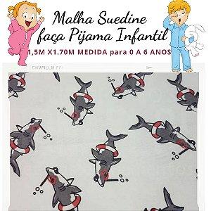 Malha Suedine Tubarão para Pijama Infantil 1,50cm x 1.70m