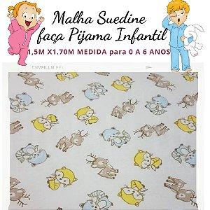 Malha Suedine Raposa e Cervos para Pijama Infantil 1,50cm x 1.70m