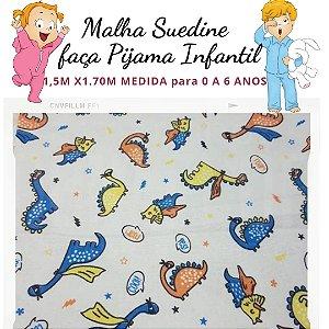 Malha Suedine Dinossauros para Pijama Infantil 1,50cm x 1.70m