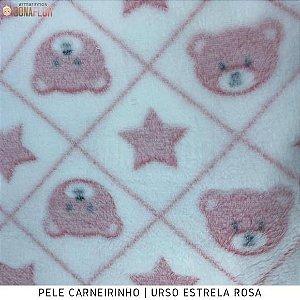 Microfibra Fleece  Urso Estrela Rosa 50cm x 1,60m