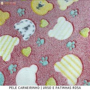 Microfibra Fleece  Urso e Patinhas Rosa 50cm x 1,60m