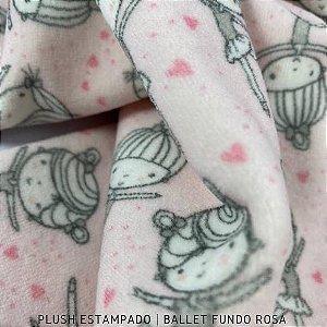 Plush Bailarina fundo Rosa tecido Toque Aveludado