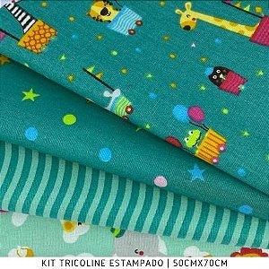 Kit Tricoline 4tecidos MINI ZOO fundo Verde 50cmx70cm cada