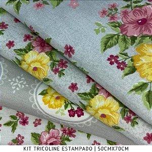 Kit Tricoline 4tecidos Beautiful Smile 50cmx70cm cada