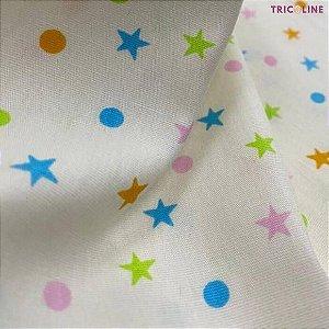 Tricoline Poás e Estrelas Creme 50cmX1,40m
