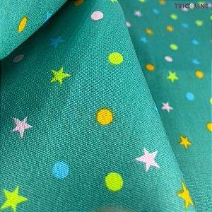 Tricoline Poás Estrelas fundo verde 50cmX1,40m