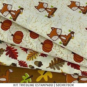 Kit Tricoline 4tecidos Outono Bichos 50cmx70cm cada