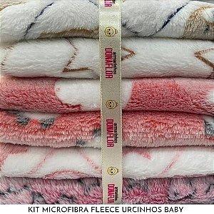 Kit Microfibra Fleece Ursinhos Baby 6tecidos 30cmx70cm