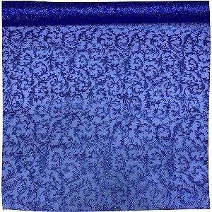 Organza Decorada Azul Royal tecido transparente e firme