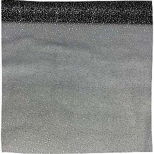 Organza Explosão Preto com Prata tecido transparente e firme