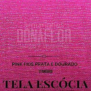 Tela Escócia Pink fio Prata tecido engomado para embalagens e decorações