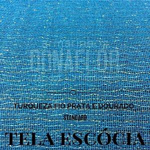 Tela Escócia Turquesa fio Prata tecido engomado para embalagens e decorações