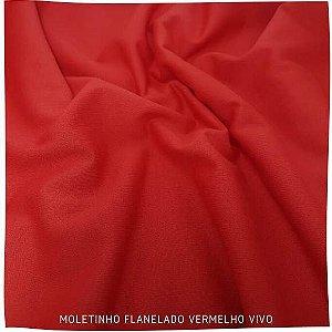 Moletinho Flanelado Vermelho vivo tecido Leve para Pijamas
