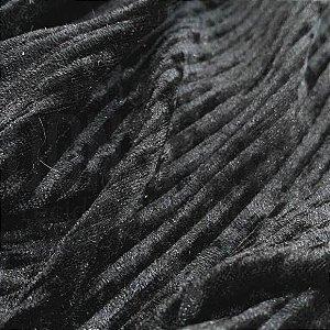 Veludo Canelado Preto tecido com Brilho, Leve e Confortável