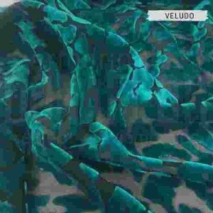 Veludo Devorê Verde tecido com Brilho, Leve e Confortável