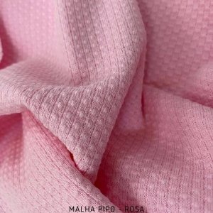 Malha Piquet Pipo Rosa tecido texturas para Roupas e Artigos de Bebê