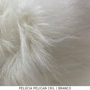 Pelúcia Pelicancril  Branco tecido pelo Alto 95mm e base firme